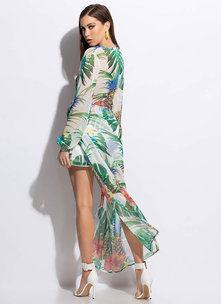 Tropical Twist Sheer High-Low Dress WHITEMULTI