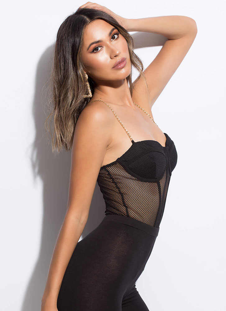 Net Picks Chain Strap Thong Bodysuit BLACK