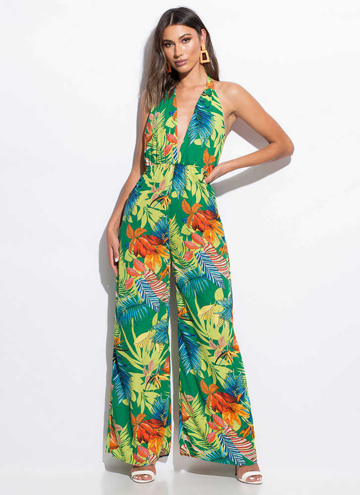 Tropical Nights Halter Palazzo Jumpsuit GREENMULTI