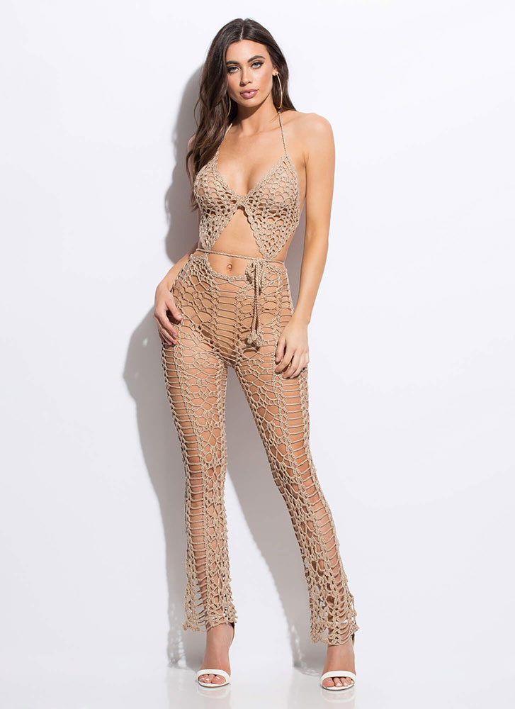 Catch Me If You Can Netted Jumpsuit BEIGE