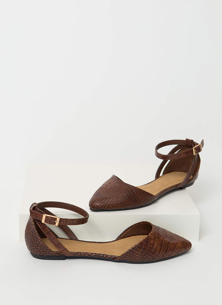 Cute Croc Pointy Ankle Strap Flats BROWN