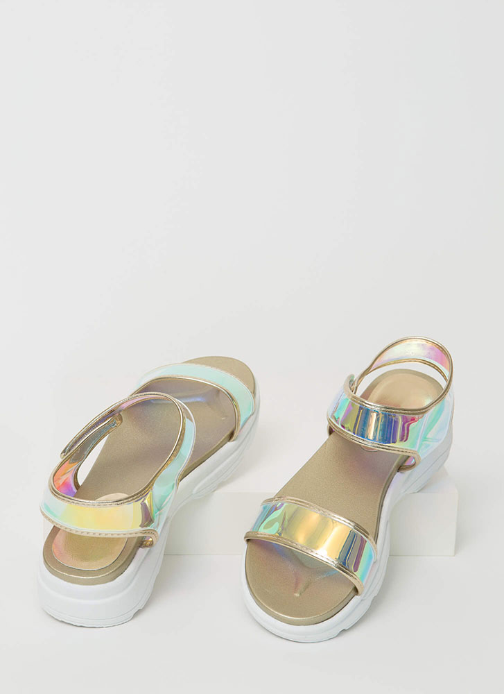 Clearly Sporty Strappy Platform Sandals IRIDESCENT