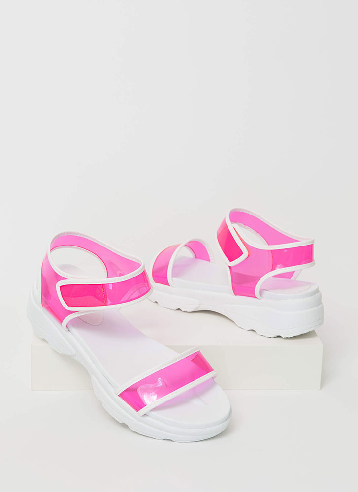 Clearly Sporty Strappy Platform Sandals NEONPINK