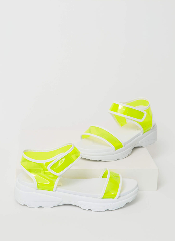 Clearly Sporty Strappy Platform Sandals NEONYELLOW