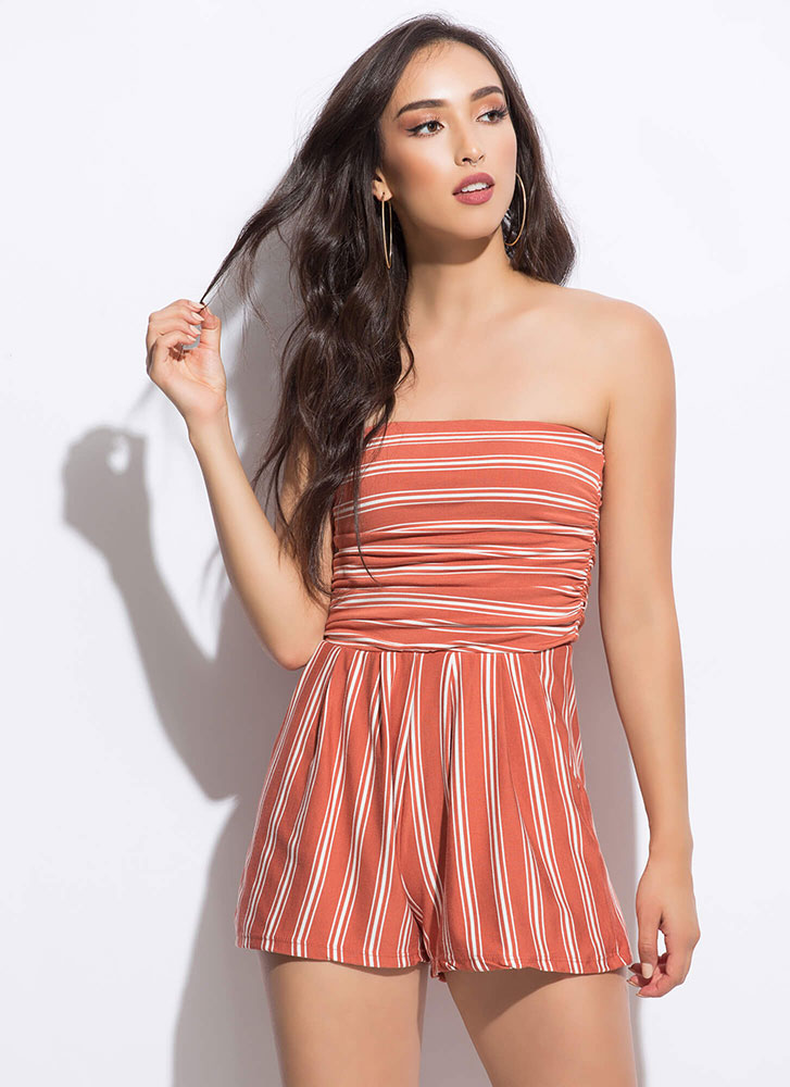 Vacay Ready Strapless Striped Romper TERRACOTTA