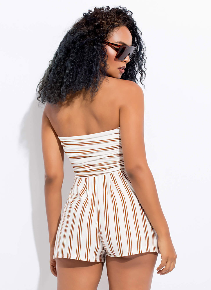 Vacay Ready Strapless Striped Romper WHTTERRA