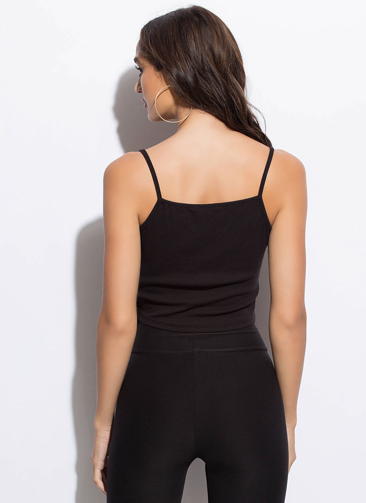 Casual-Cute Tied Button Accent Tank Top BLACK