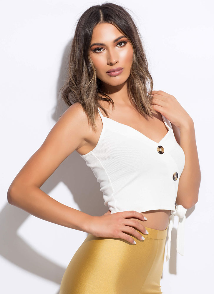 Casual-Cute Tied Button Accent Tank Top WHITE