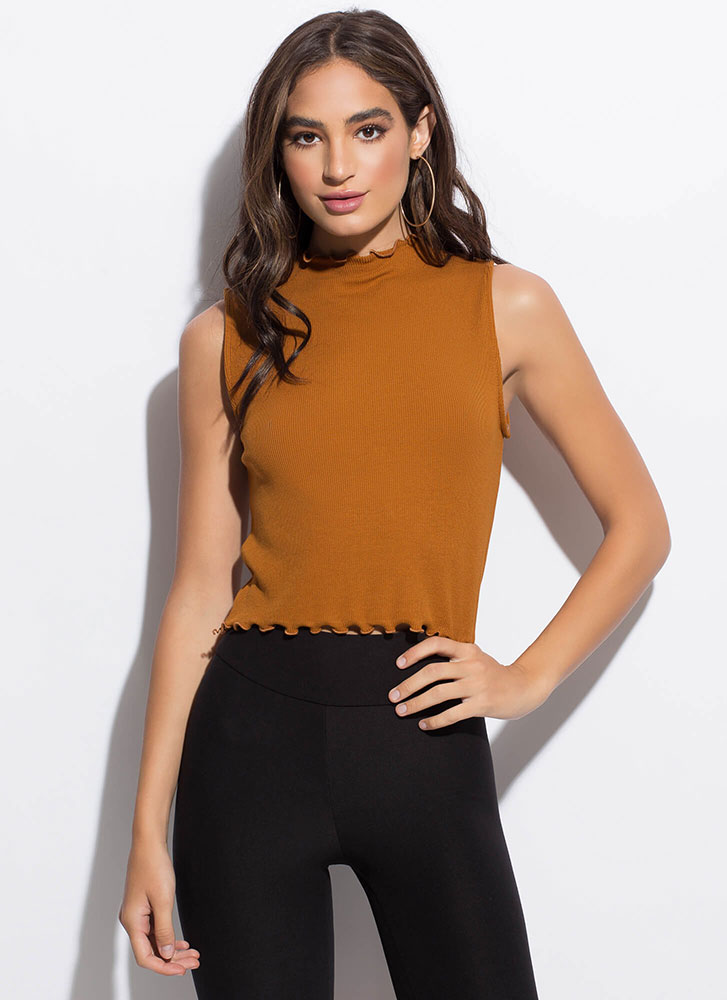 Can You Frill It Lettuce Edge Tank Top TERRACOTTA