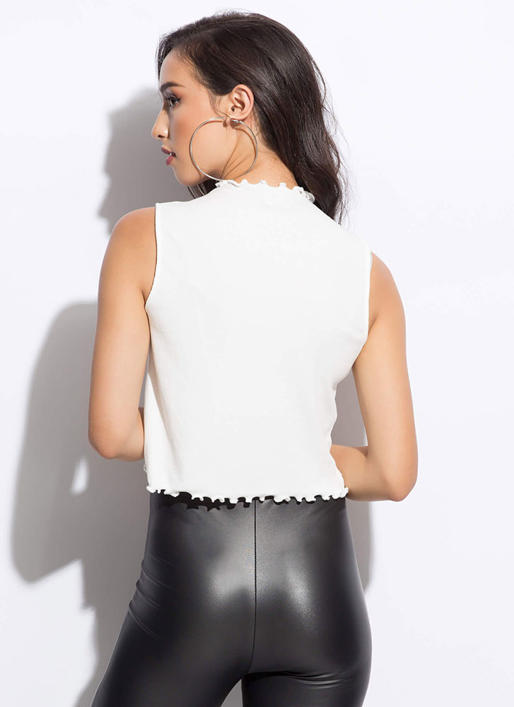 Can You Frill It Lettuce Edge Tank Top WHITE