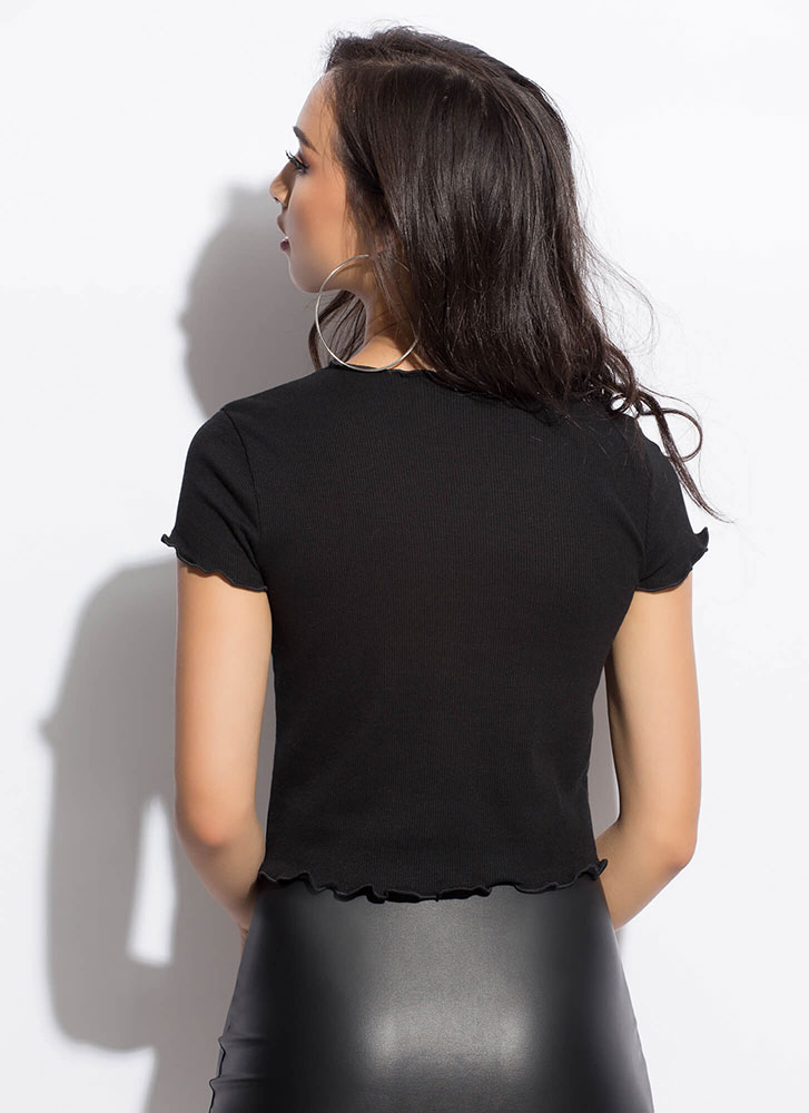 Can You Frill It Lettuce Edge Crop Top BLACK