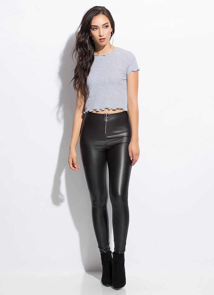 Can You Frill It Lettuce Edge Crop Top GREY