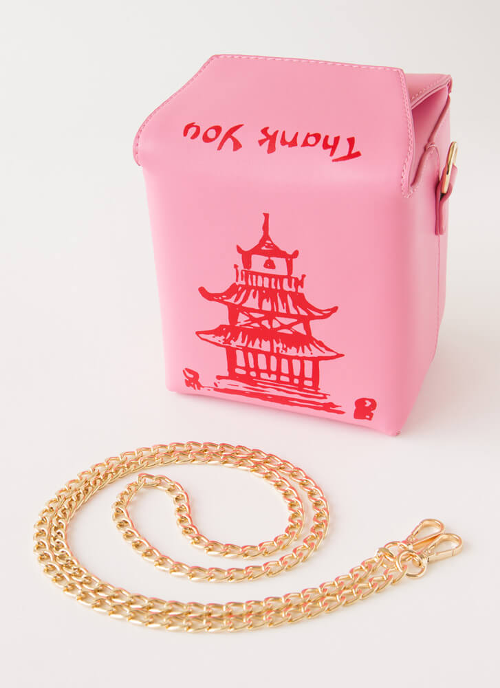 Satisfy Your Hunger Takeout Box Purse PINK