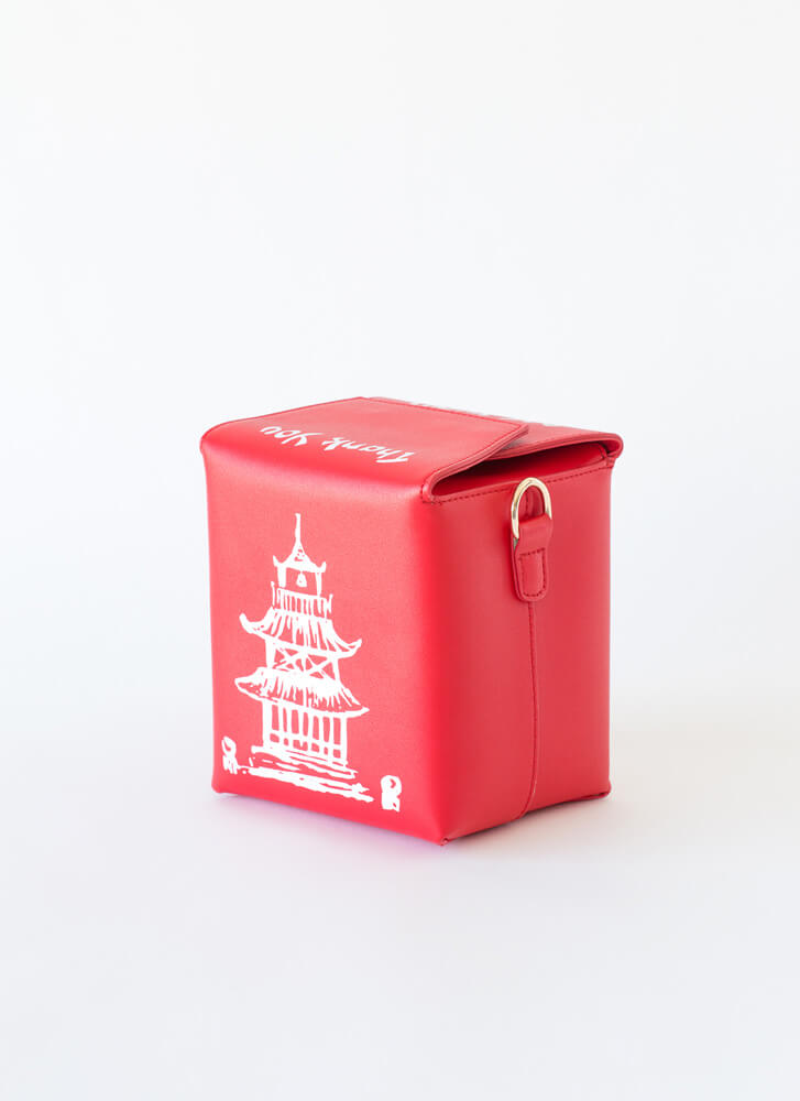 Satisfy Your Hunger Takeout Box Purse RED