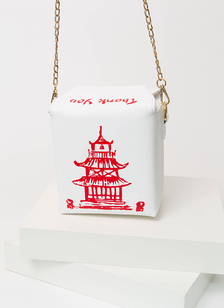 Satisfy Your Hunger Takeout Box Purse WHITE
