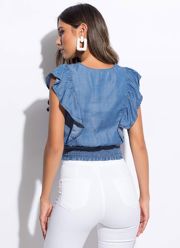 It's My Day Off Ruffled Chambray Top BLUE
