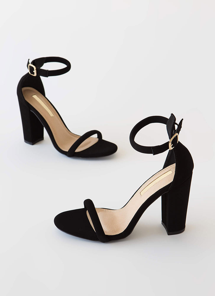 The Answer Chunky Ankle Strap Heels BLACK