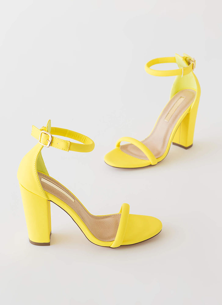 The Answer Chunky Ankle Strap Heels YELLOW