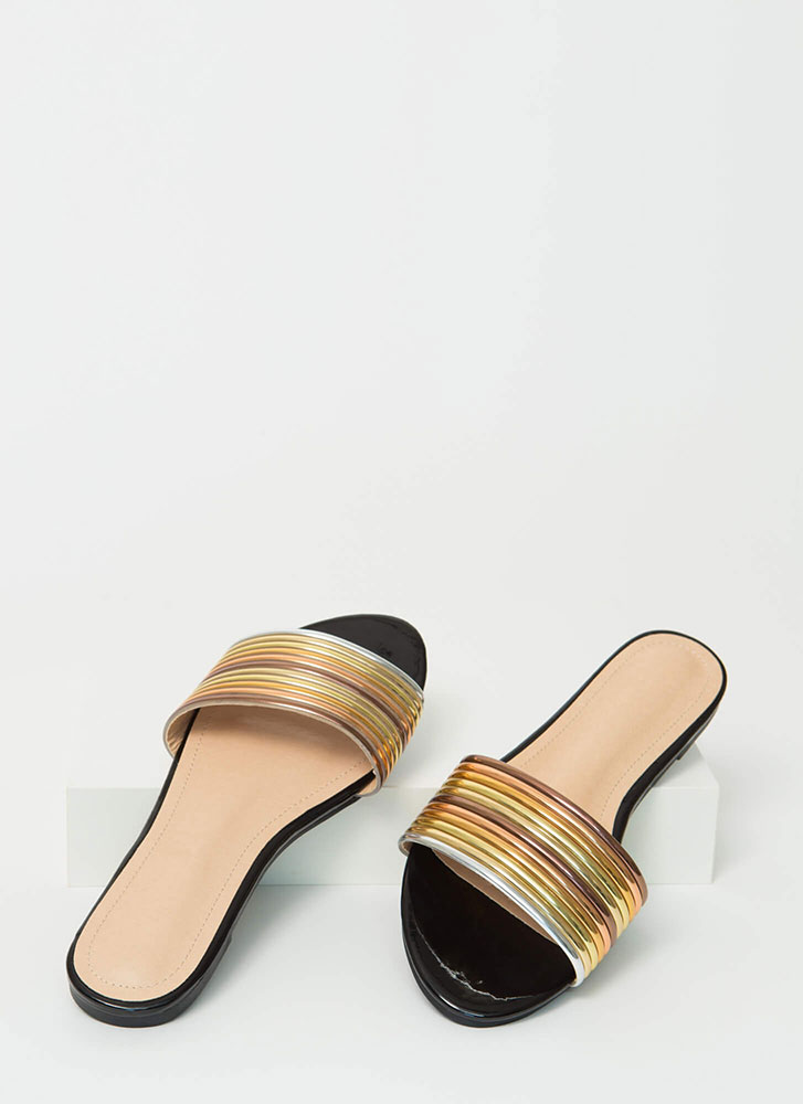 Stacked Up Faux Patent Slide Sandals BLACK