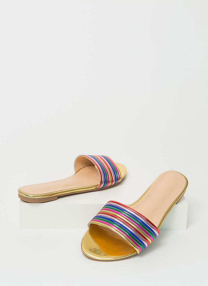 Stacked Up Faux Patent Slide Sandals GOLD