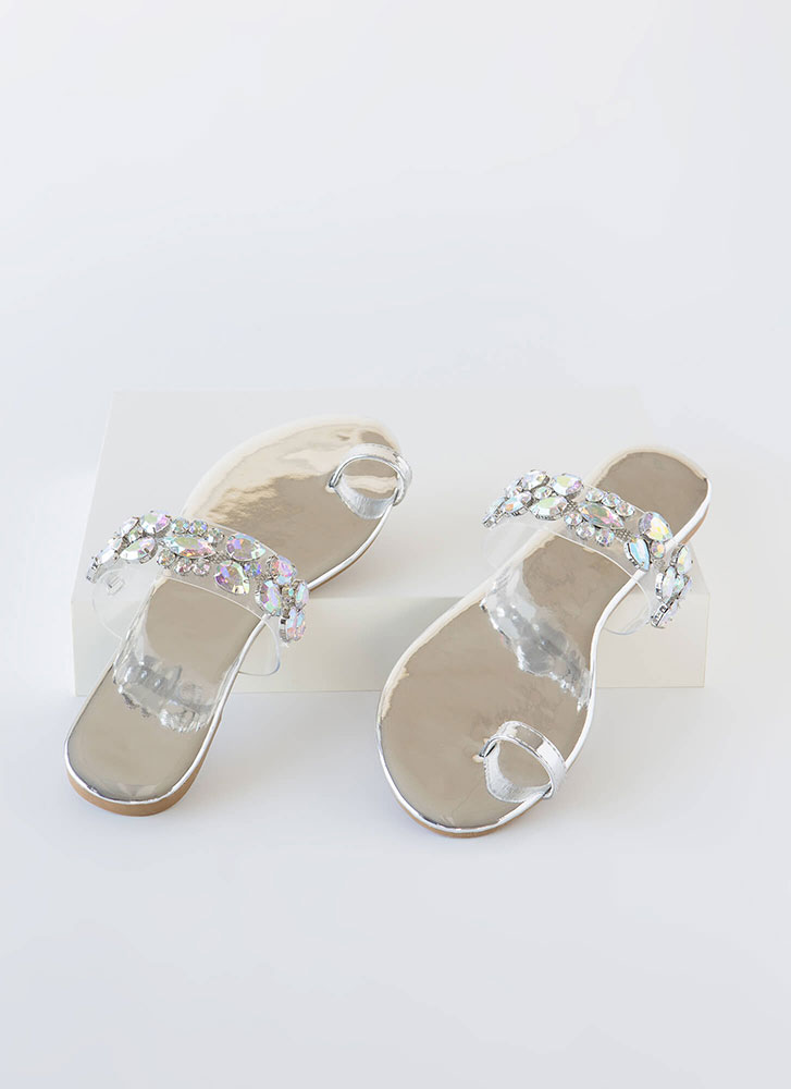 Precious Gem Jeweled Clear Strap Sandals SILVER