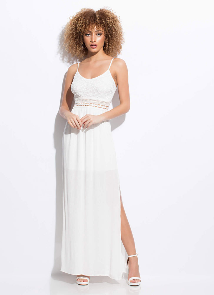 Goddess Almighty Lace Top Maxi Dress WHITE