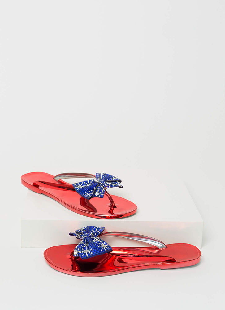 Bow For It Sparkly Jelly Thong Sandals FLAG