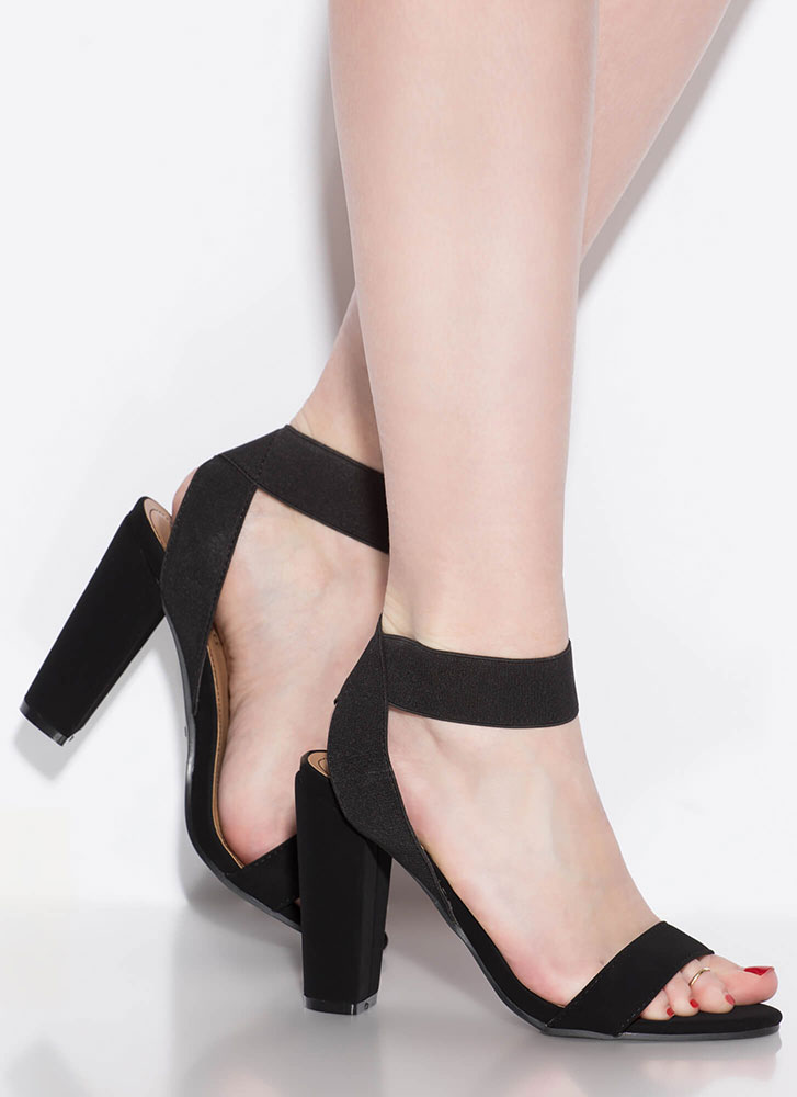 Simply Glorious Chunky Banded Heels BLACK