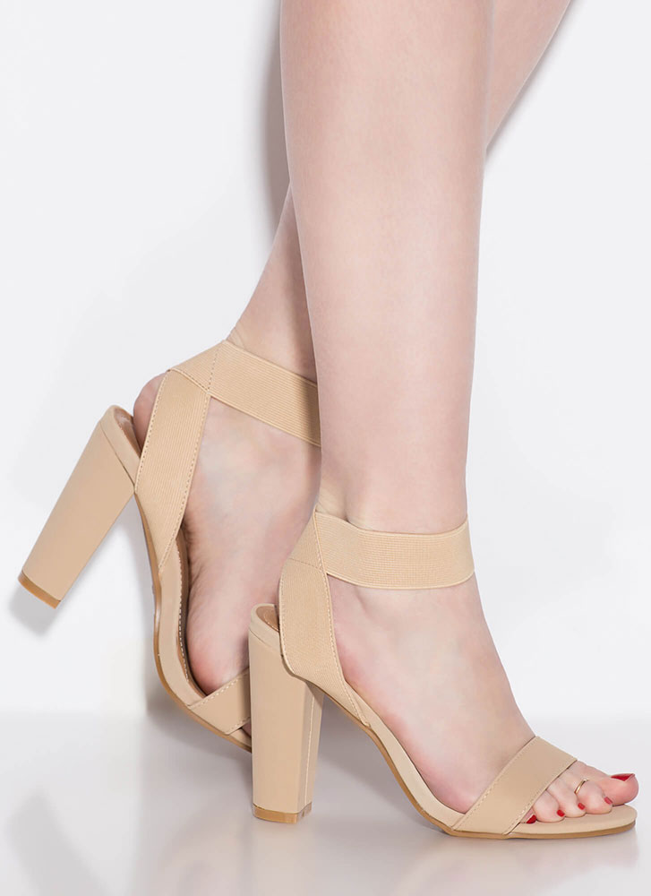 Simply Glorious Chunky Banded Heels NUDE
