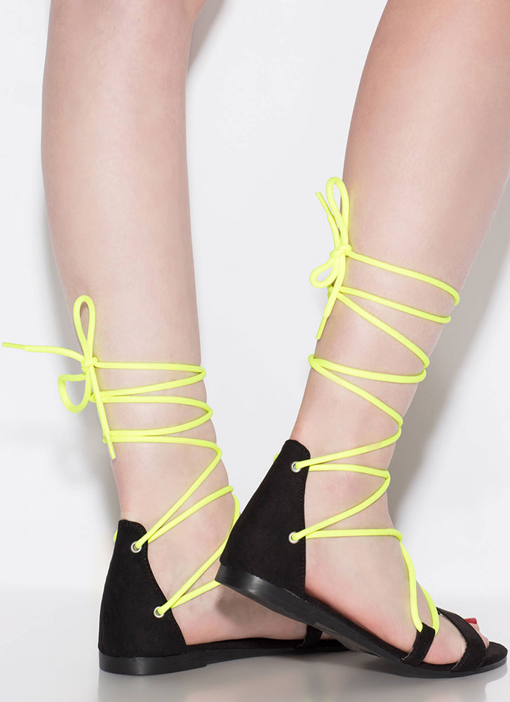 Pull Strings Strappy Lace-Up Sandals NEONYELLOW