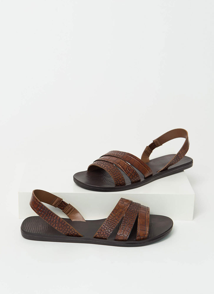 Slingback Story Faux Crocodile Sandals BROWN