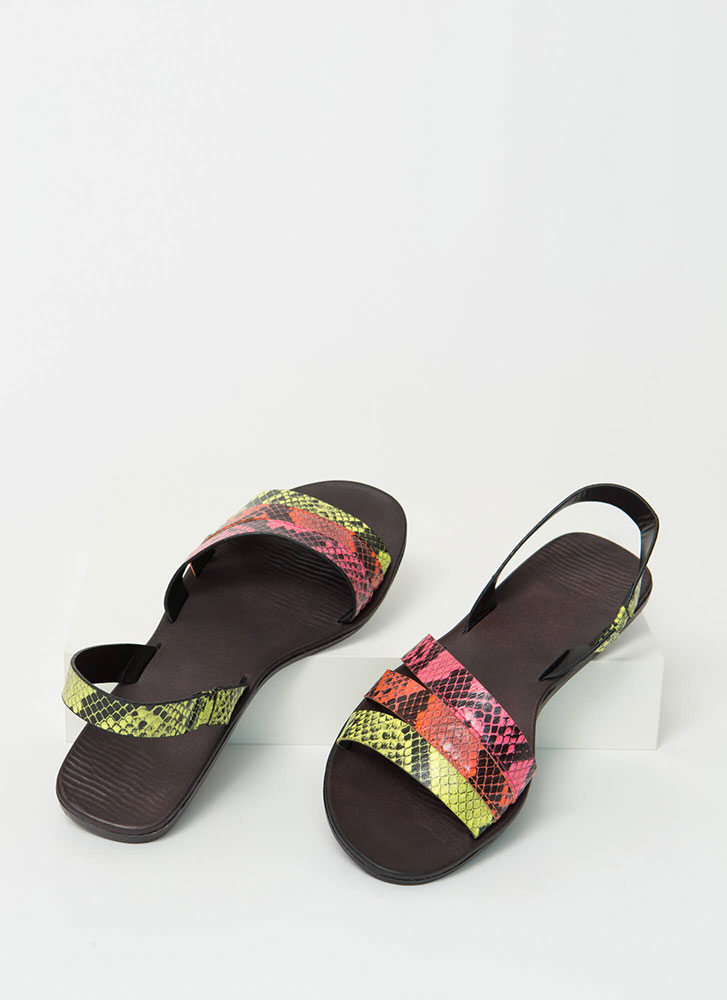 Slingback Story Faux Snake Sandals NEONYELLOW