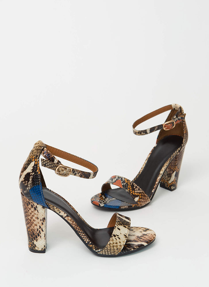 Snake Mania Chunky Ankle Strap Heels TAN
