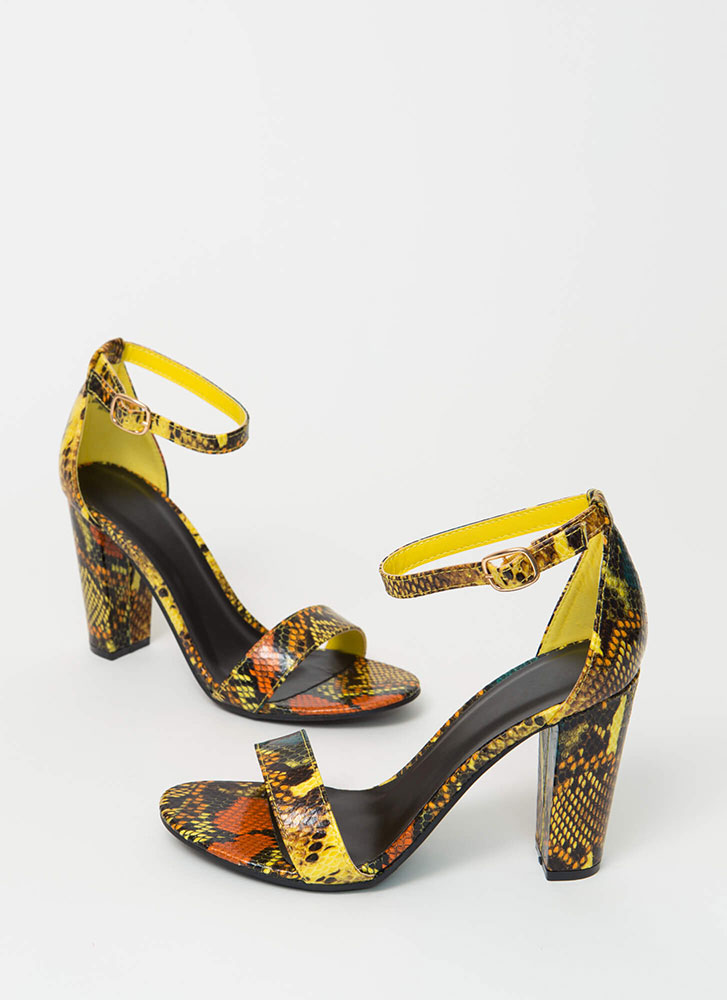 Snake Mania Chunky Ankle Strap Heels YELLOW