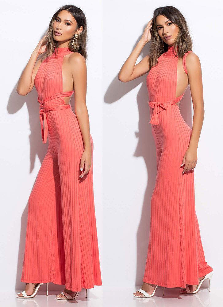 Lady's Choice Multi-Way Palazzo Jumpsuit CORAL