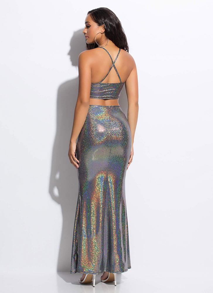 Doll Of The Ball Sparkly Cut-Out Gown BLACK