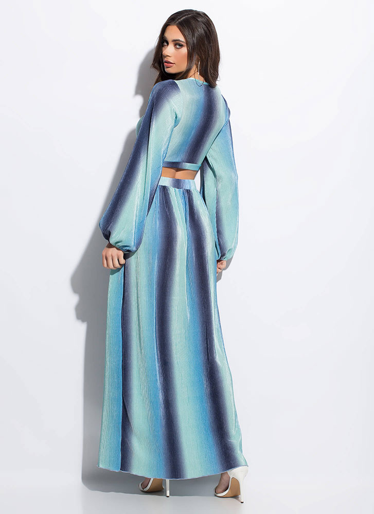Vintage Vibes Ombre-Striped 2-Piece Maxi BLUE