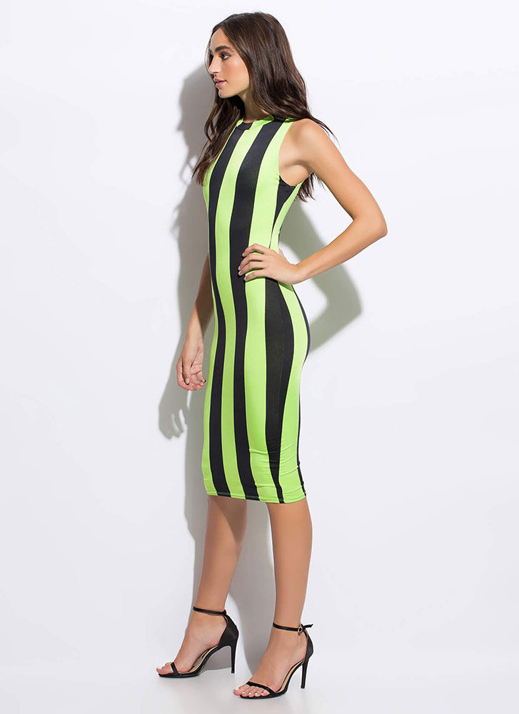 Stunning Statement Striped Midi Dress MULTI