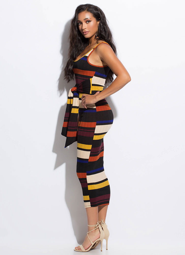 Stripe Up My Alley Tie-Front Maxi Dress MULTI