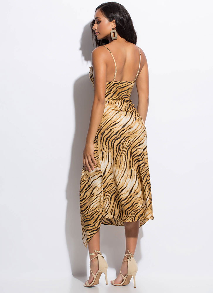 Down Tiger Slit High-Low Slip Dress BROWNMULTI