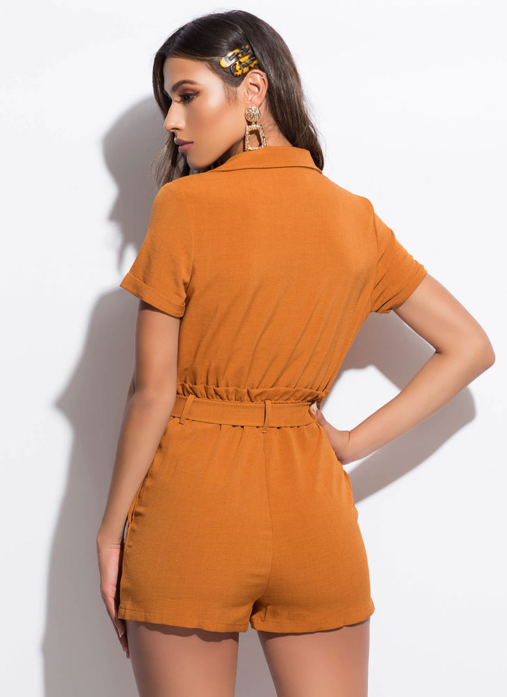 Set Me Up Paper-Bag Waist Romper COGNAC
