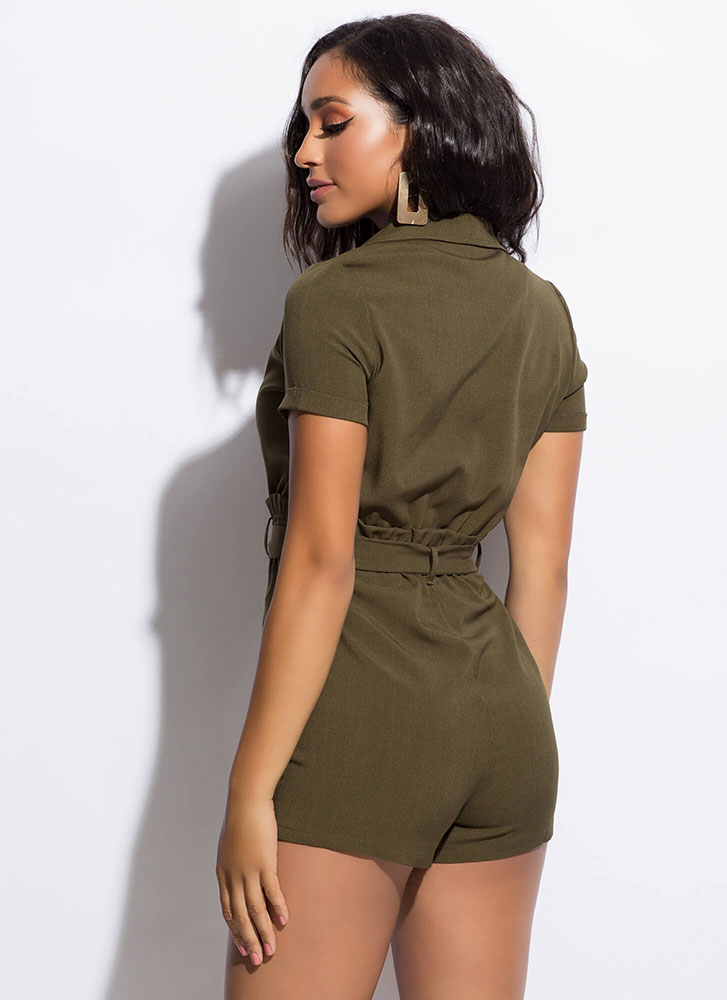 Set Me Up Paper-Bag Waist Romper OLIVE