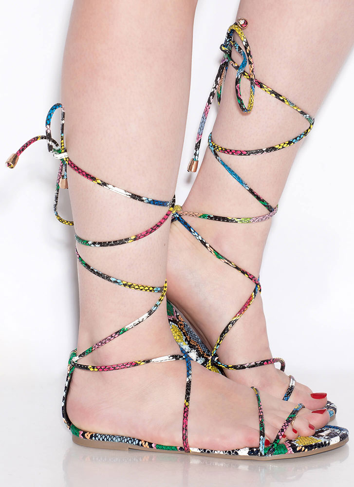 Every Color Lace-Up Snake Sandals MULTI