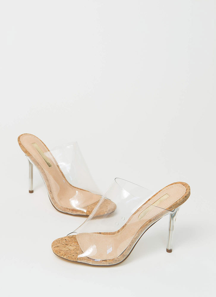Cork Fiend Clear Illusion Mule Heels CORK