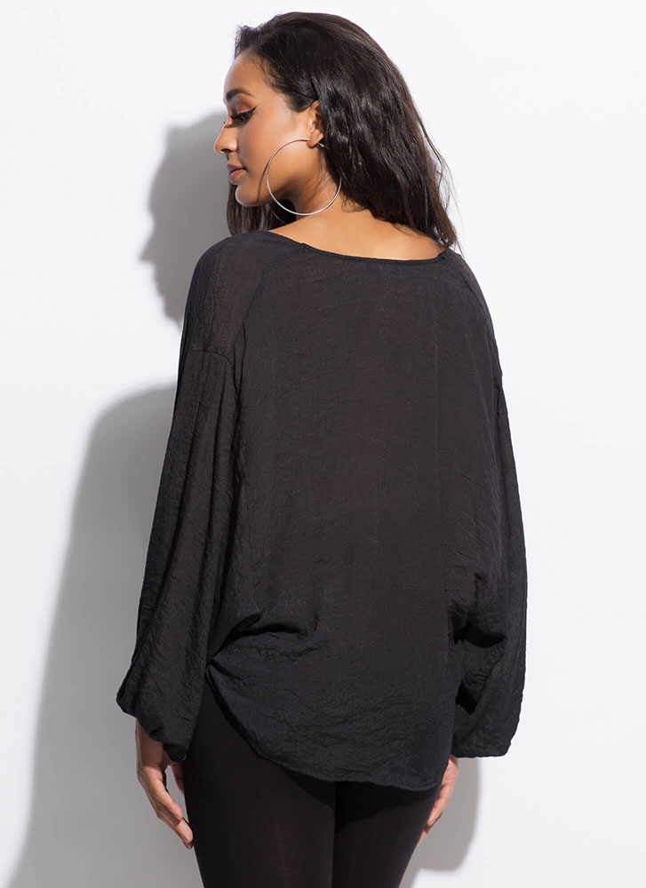 Romeo-Worthy Plunging Draped Blouse BLACK
