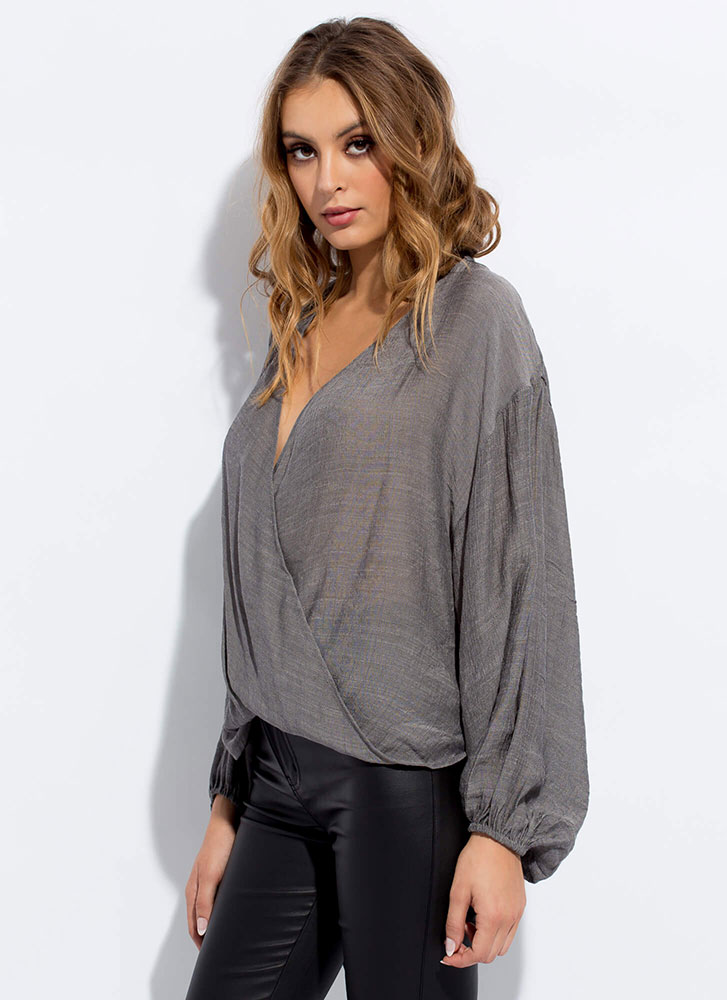 Romeo-Worthy Plunging Draped Blouse CHARCOAL