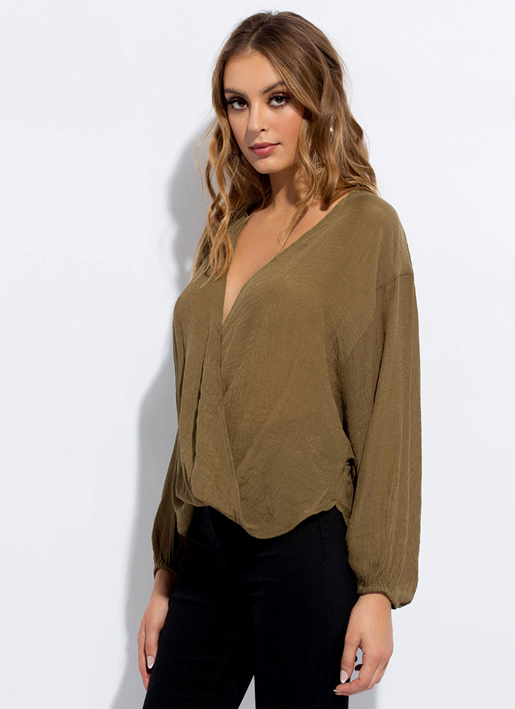 Romeo-Worthy Plunging Draped Blouse OLIVE