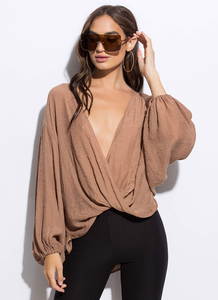 Romeo-Worthy Plunging Draped Blouse TAUPE