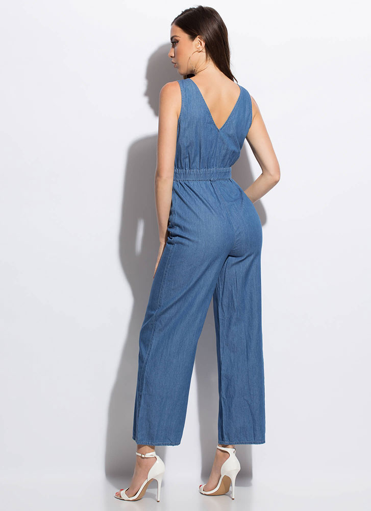 My New Bow Wide-Leg Chambray Jumpsuit MEDBLUE