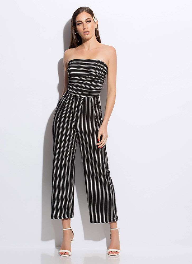 Vacay Ready Strapless Striped Jumpsuit BLACKWHITE